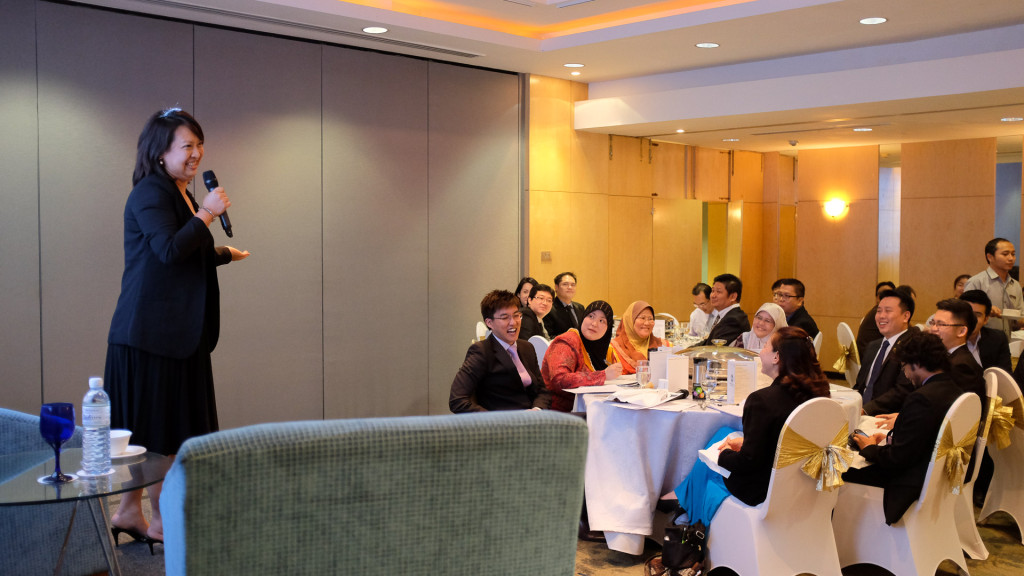 Ong Yin entertains the audience at The Brunei Advanced Speakers' Club