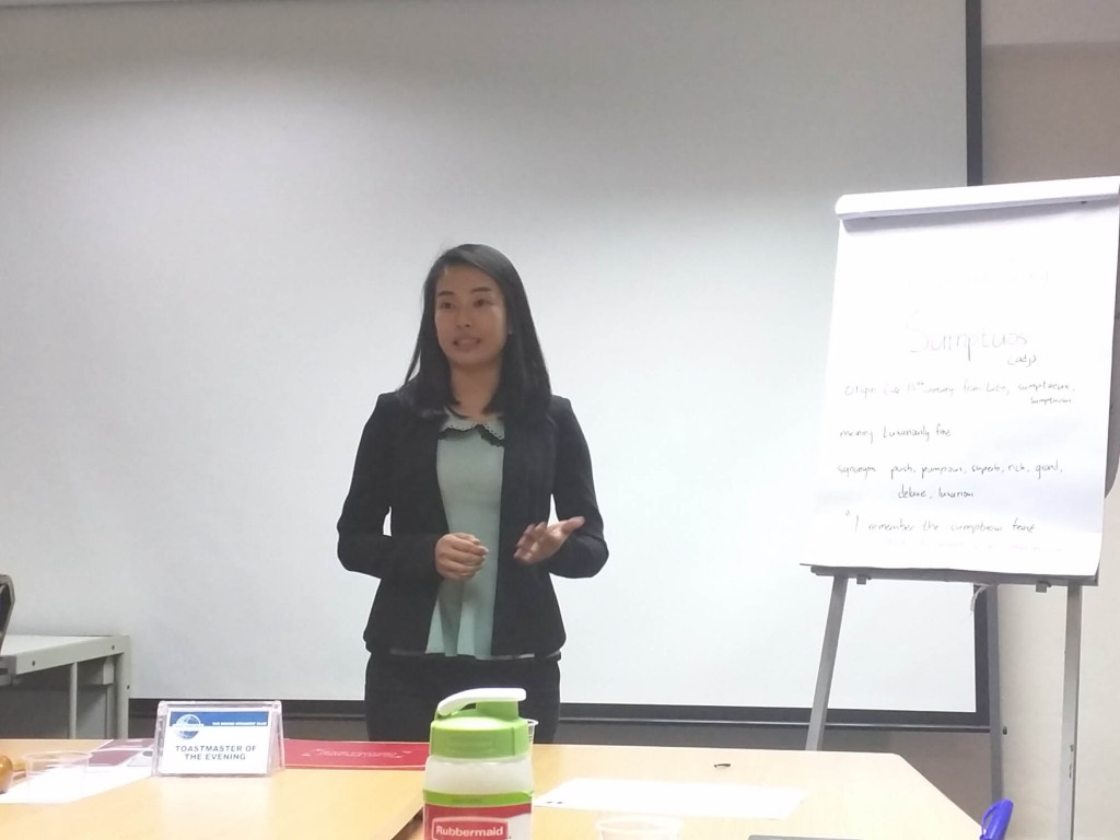 TM Vui Ting delivering her CC2 Speech