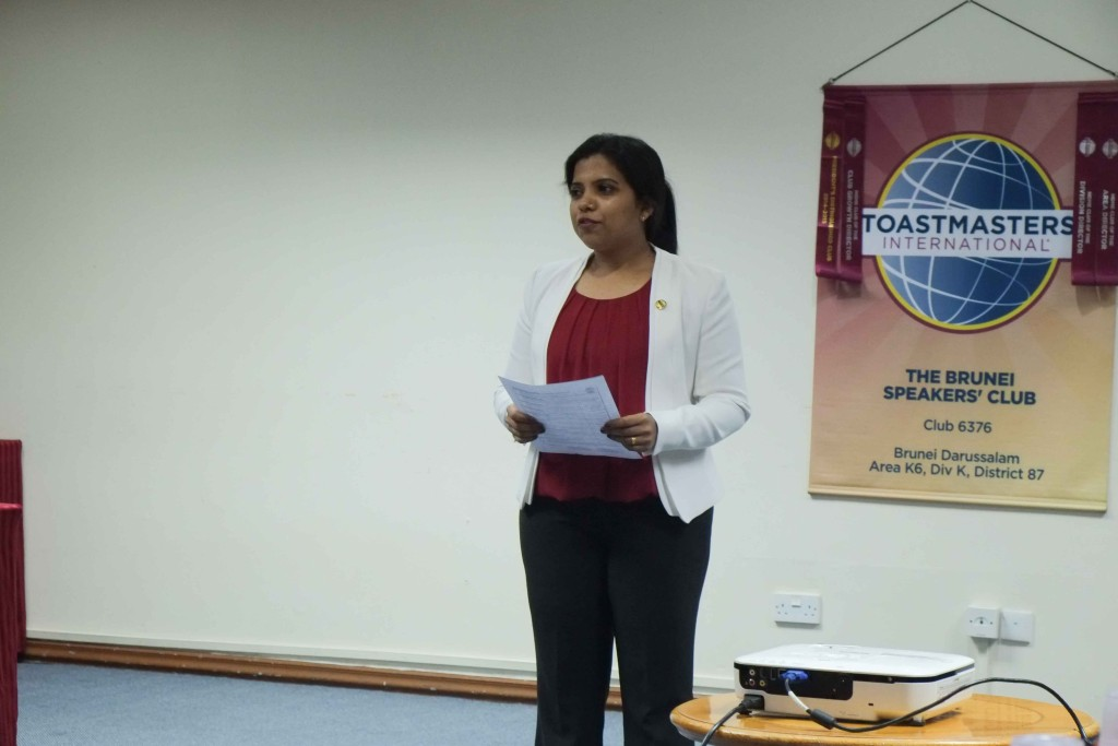 Our Toastmasters of the Evening, TM Pooja Shivanand
